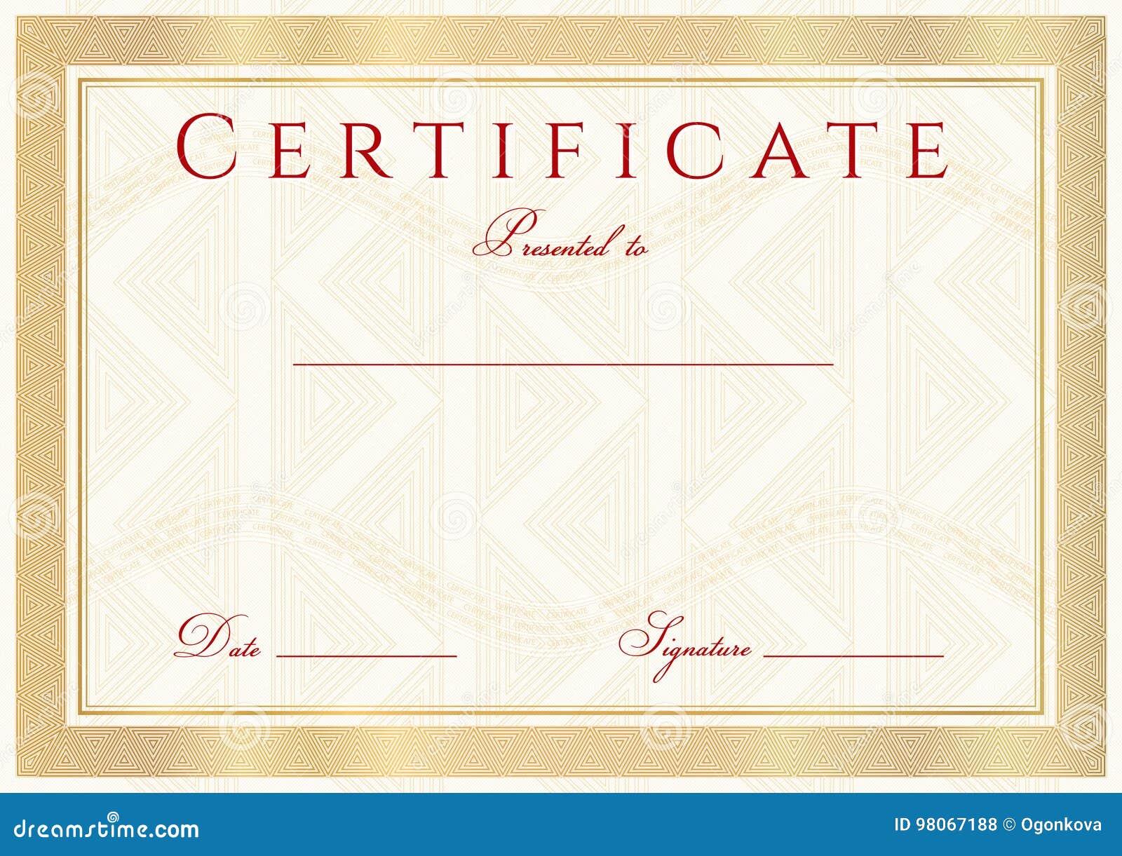 Zertifikat, Diplom Der Fertigstellungsdesignschablone, Hintergrund ...