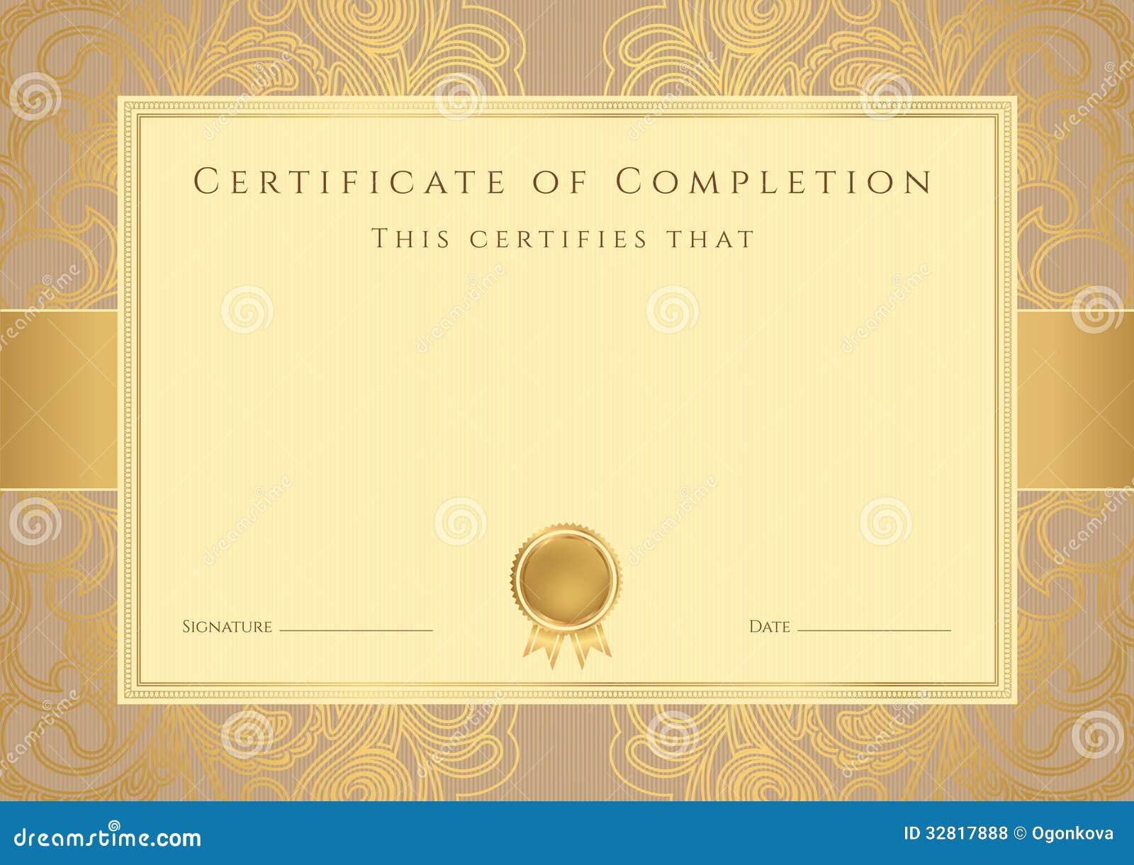 Zertifikat-/Diplomhintergrund (Schablone). Muster Vektor Abbildung ...