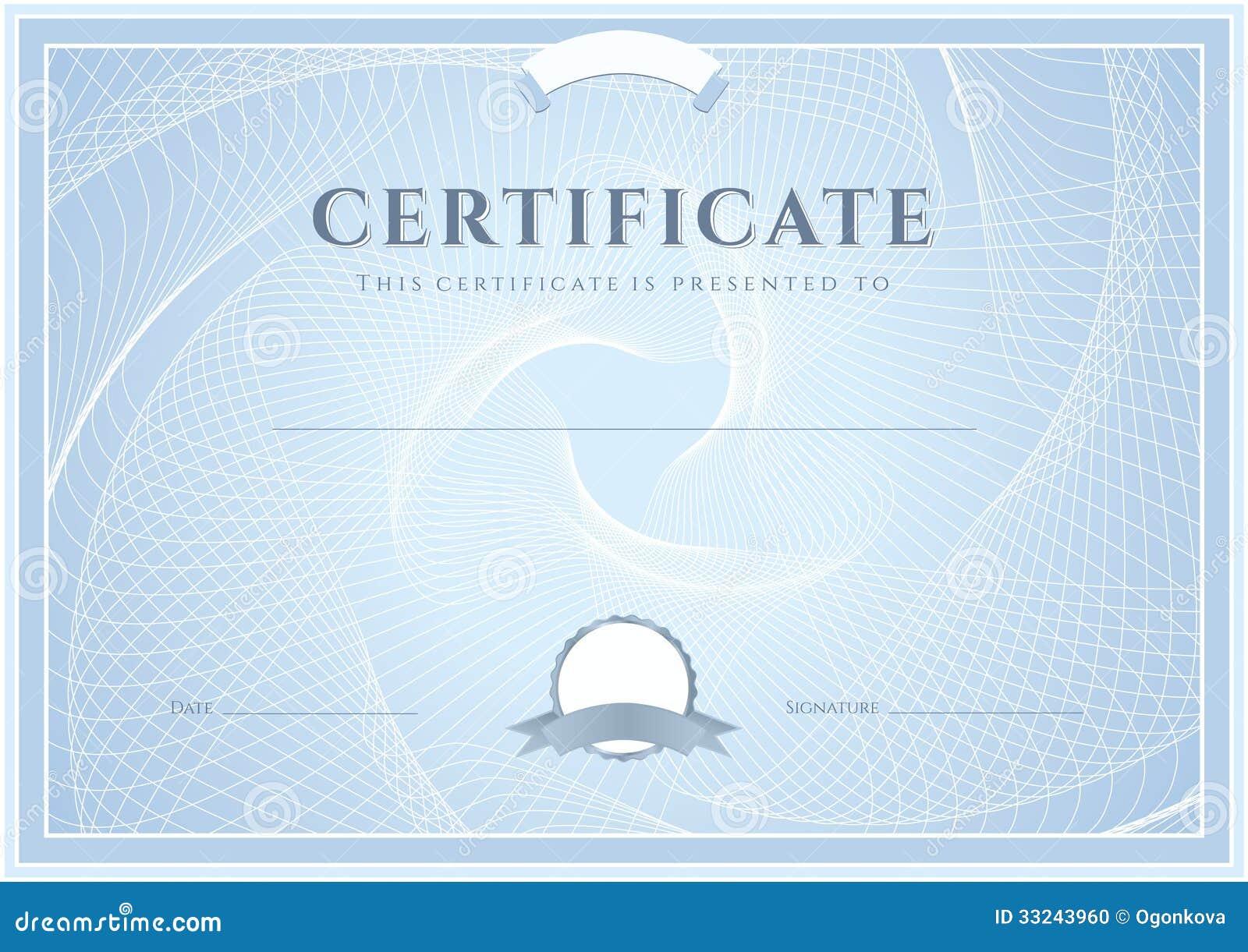 Zertifikat, Diplomschablone. Preismuster Vektor Abbildung ...