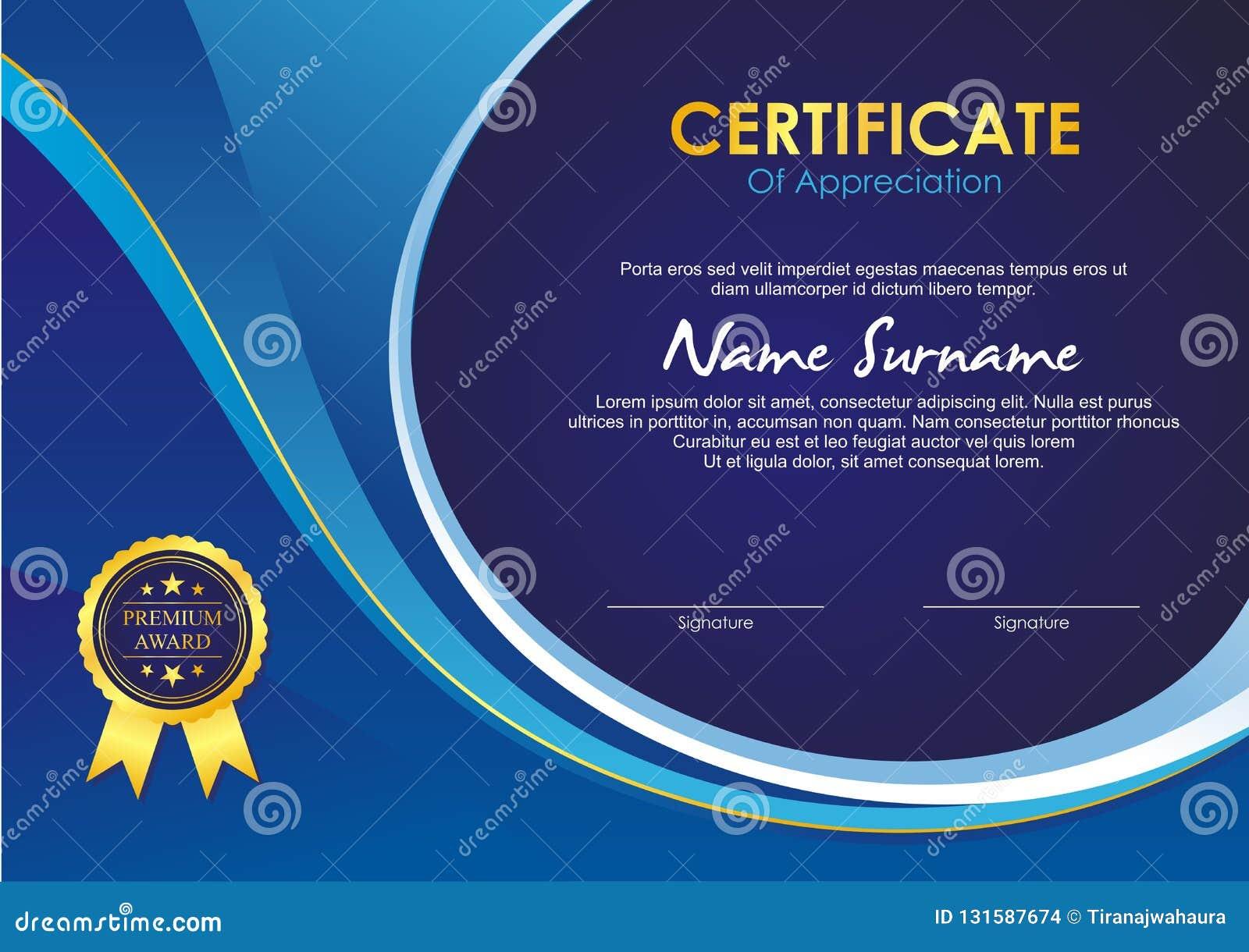 Zertifikat-Schablone mit stilvollem Wellenentwurf