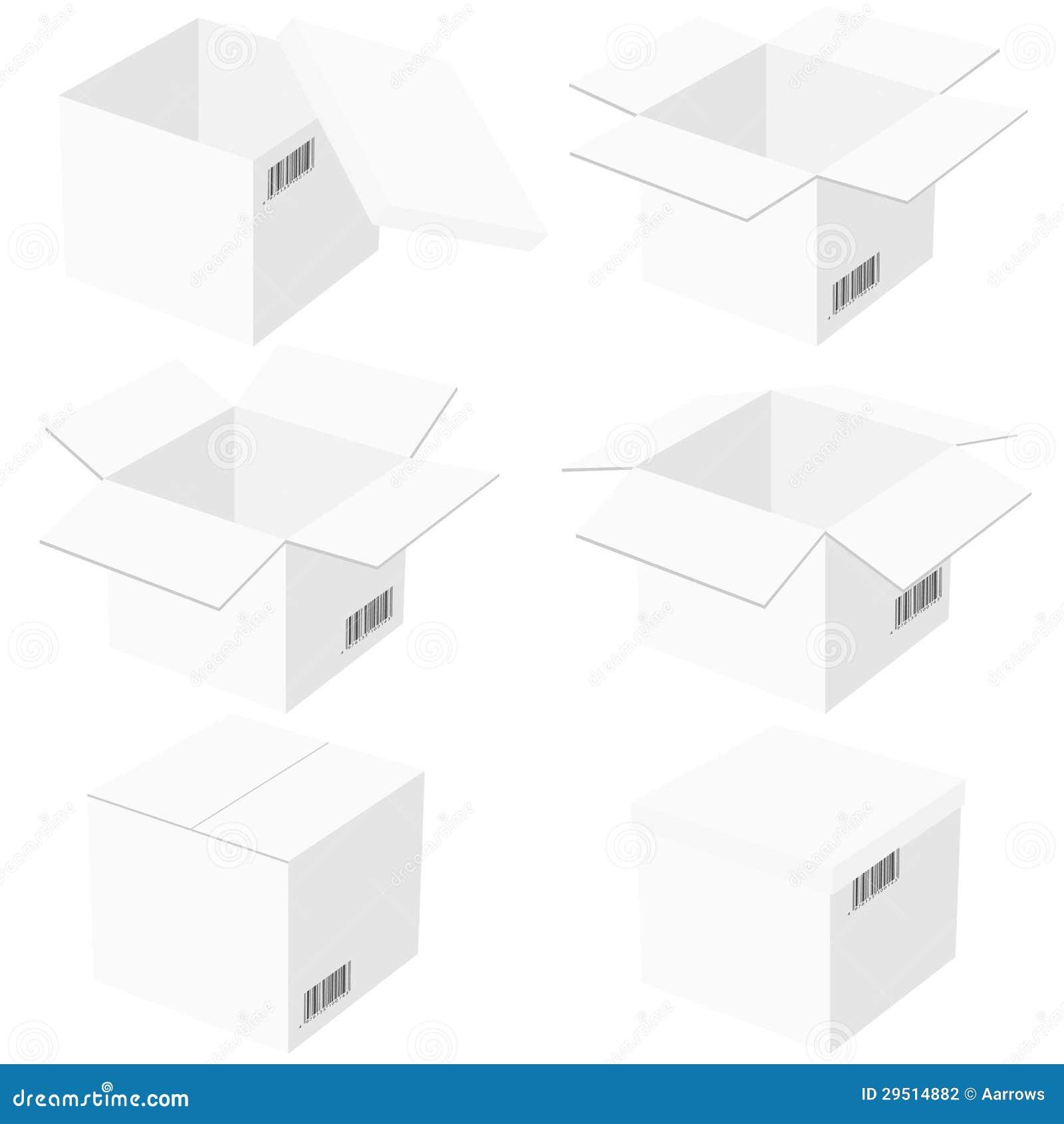 Zes dozen, die op witte achtergrond worden geïsoleerdz.