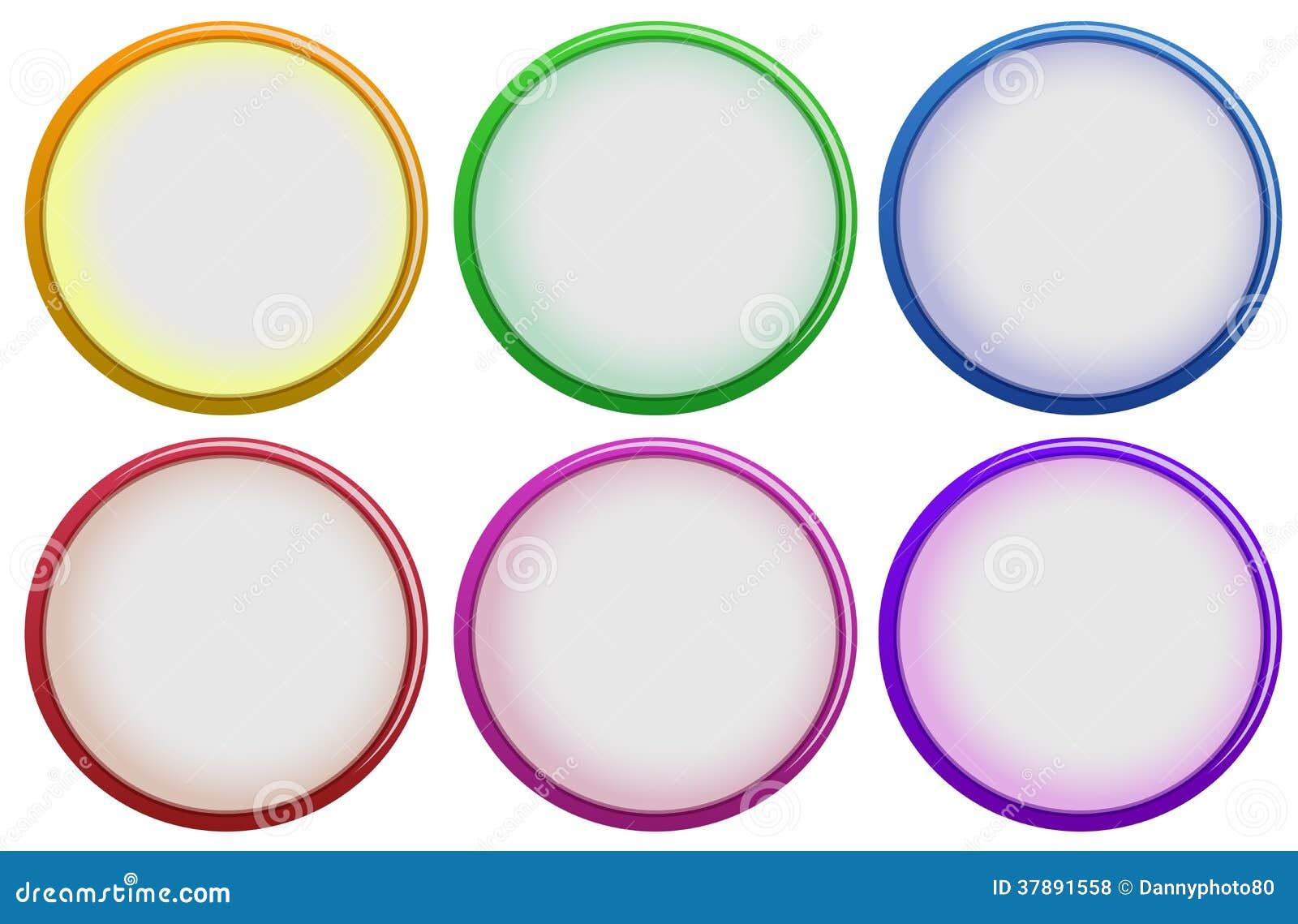 Zes kleurrijke knopen