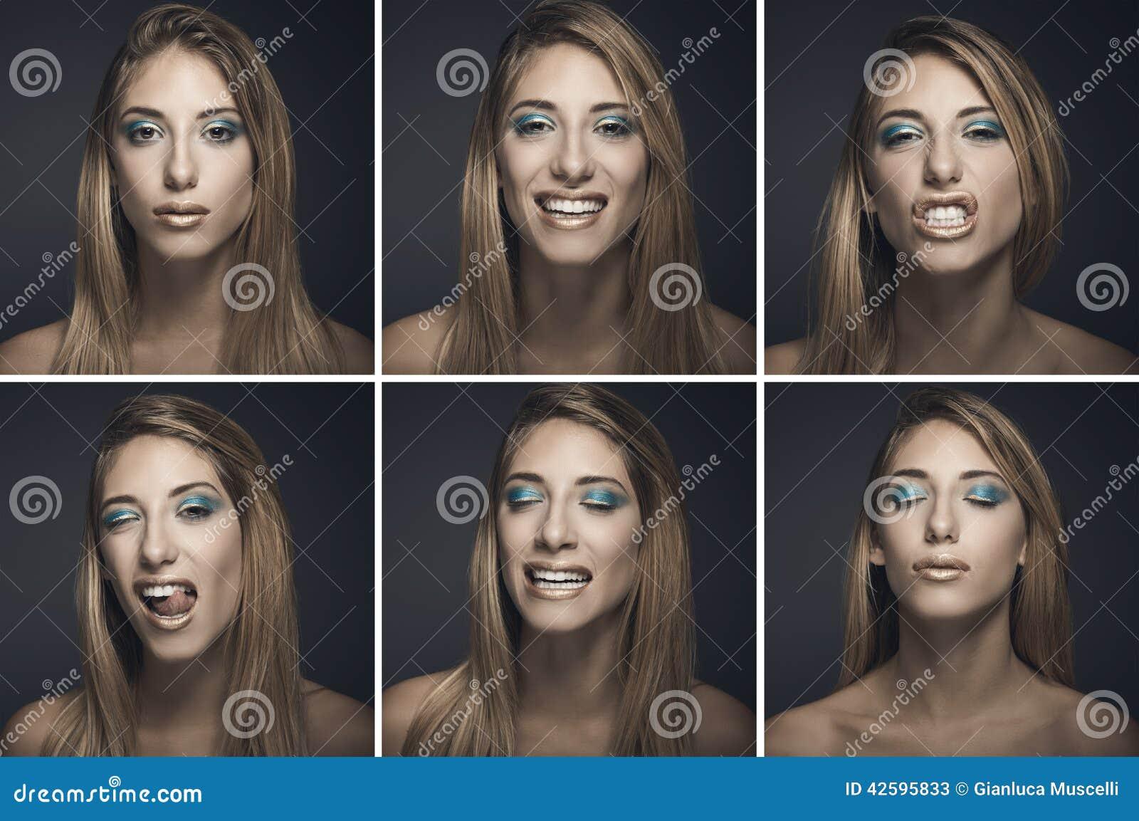 Zes portretten van sexy jonge vrouw in verschillende uitdrukkingen