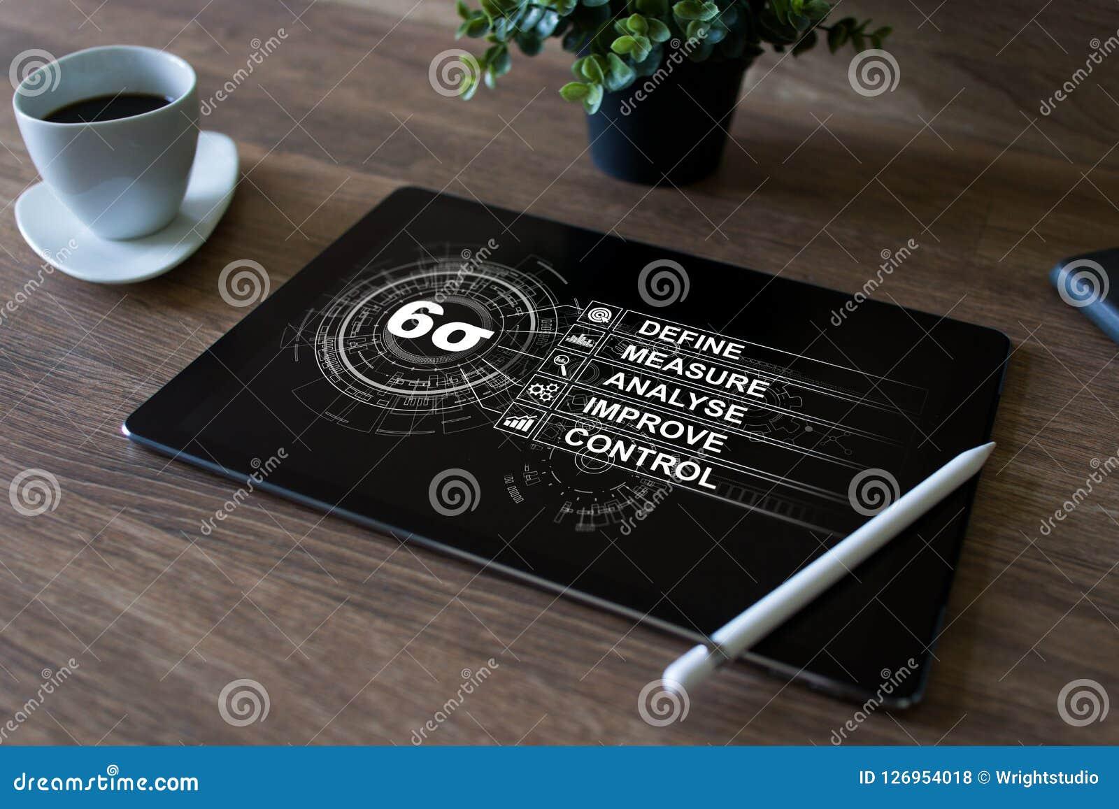 Zes sigmadiagram, helling die industrieel concept op het scherm vervaardigen
