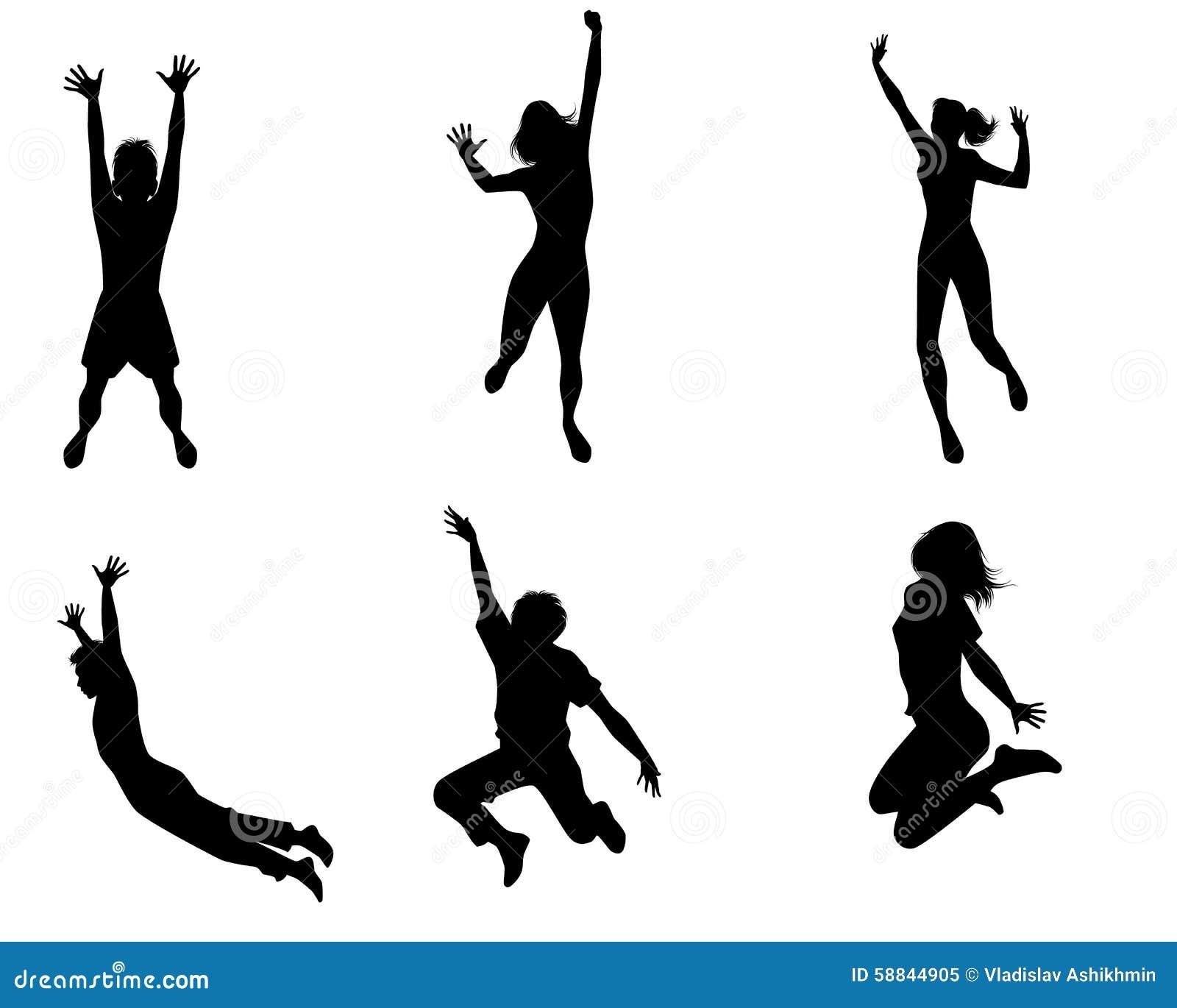 Zes springende tieners