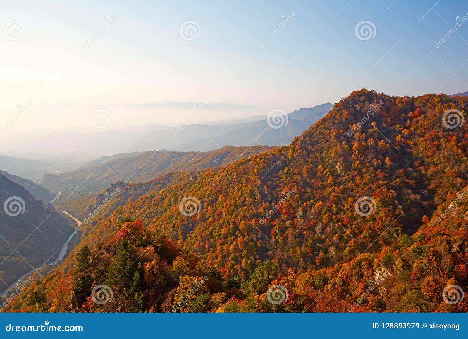 Zet Bailongshan-de herfst, Shanxi, China op