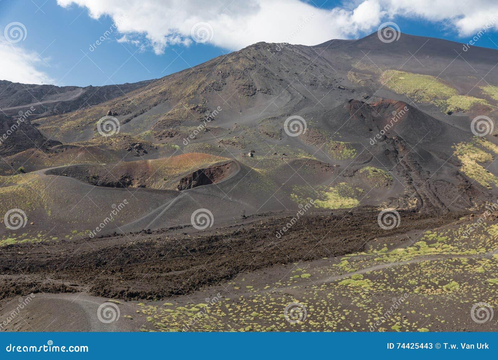 Zet Etna met kraters en hard gemaakte lavastromen in Sicilië, Italië op