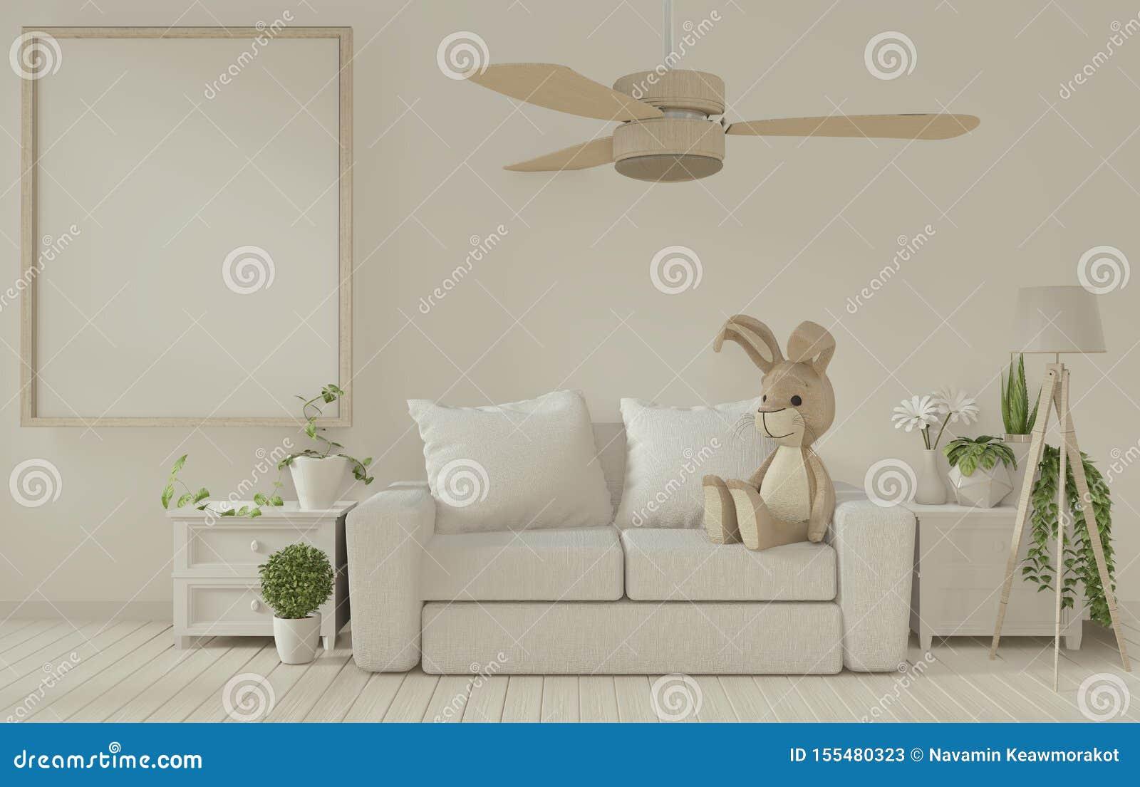 Zet het posterframe en witte sofa op de witte woonkamer binnenzijde 3D-rendering