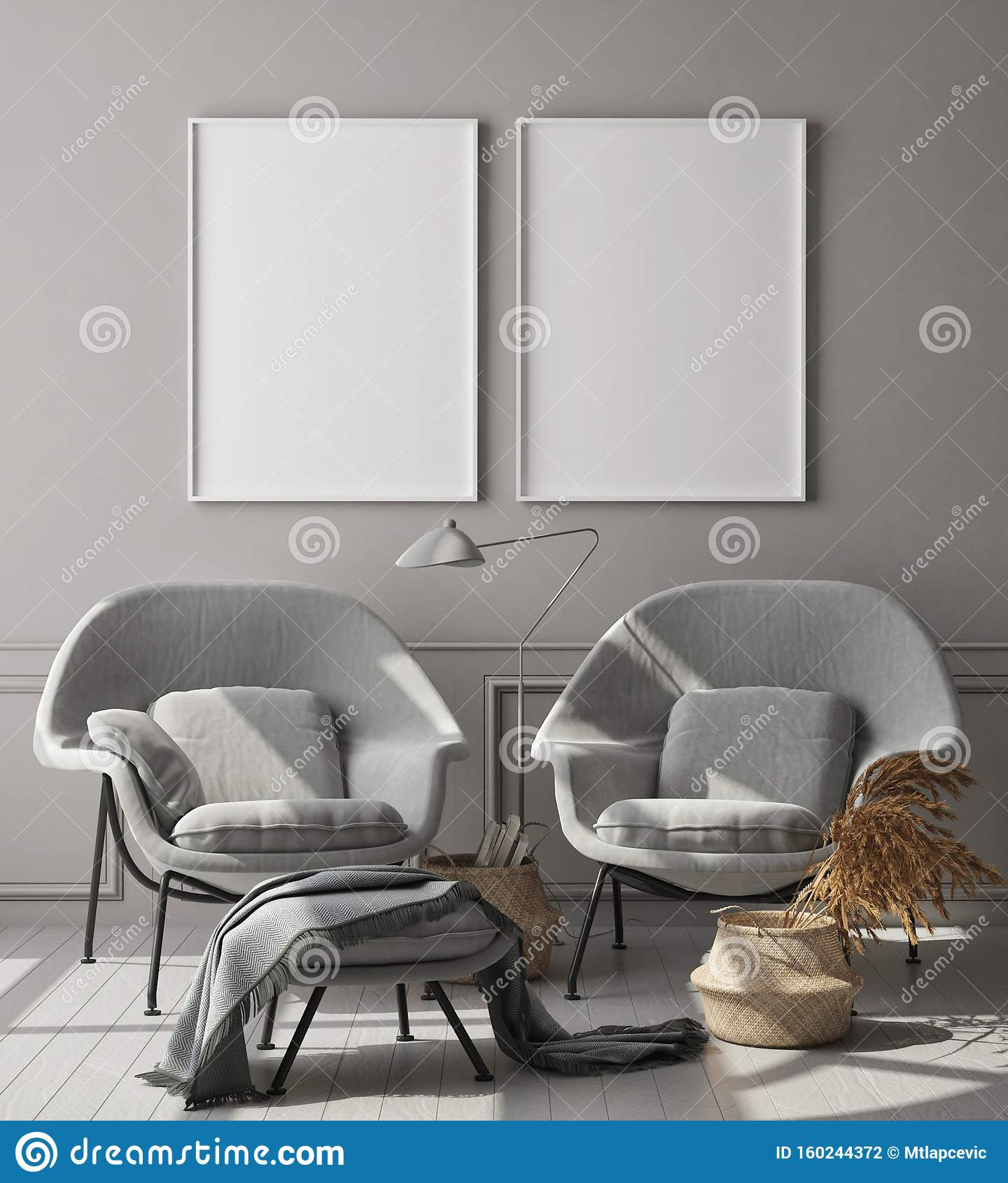 Zet het posterframe op in de moderne zwart-wit-binnenachtergrond, woonkamer, Scandinavische stijl, 3D-rendering, 3D-illustratie