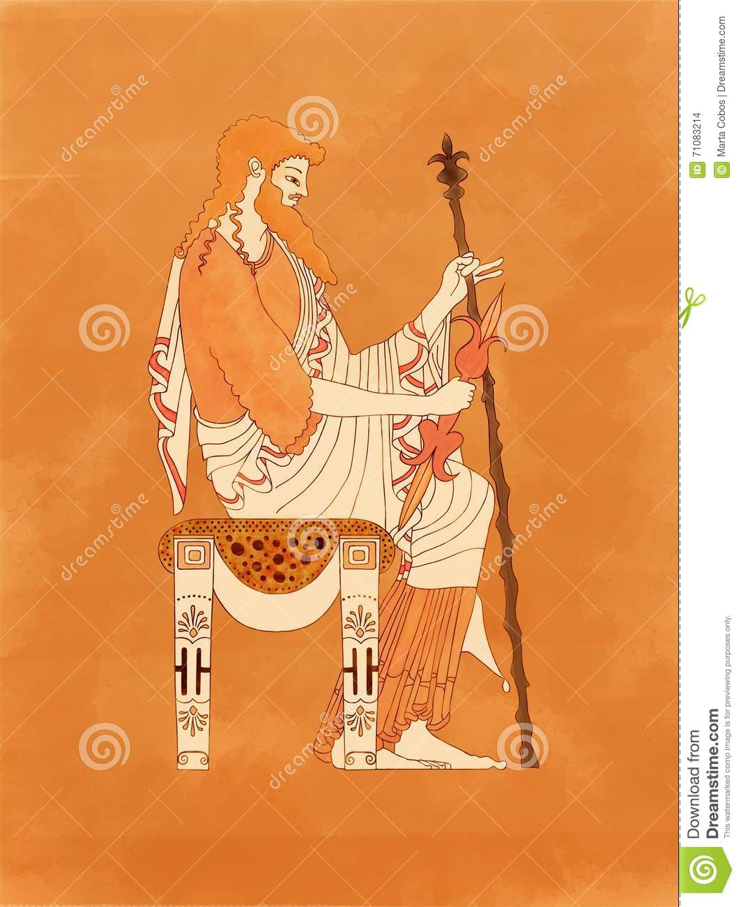 Zeus Seated With Sceptre And Thunderbolt Ancient Greek Pottery Red Figure Stock Illustration