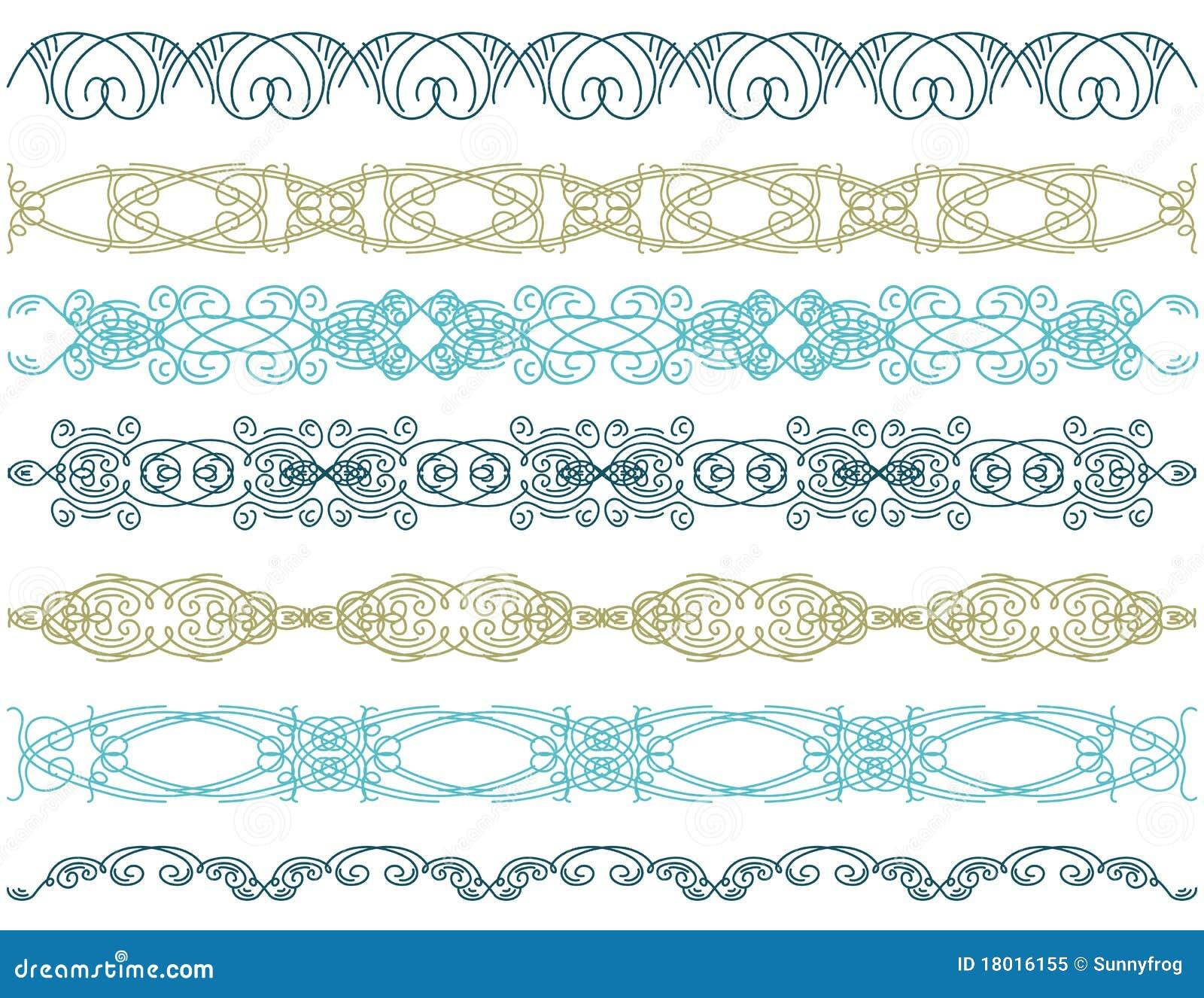 Zeven decoratieve lijnen,