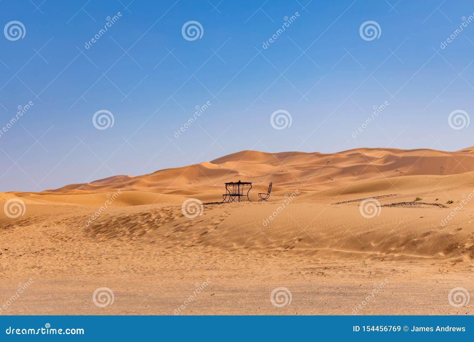 Zgłasza i Przewodniczy w odległości na piasek diunie w saharze