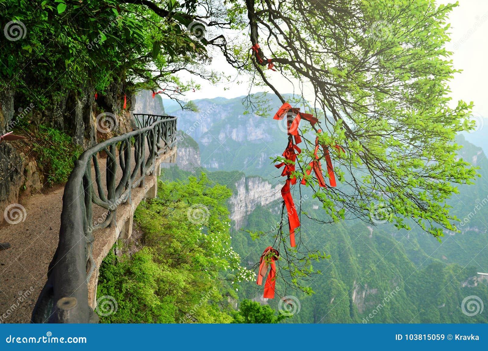 Zhangjiajie Chiny, Maj, - 10, 2017: Szczegół czerwoni faborki w życzenia Zhangjiajie Lasowym parku narodowym, Chiny