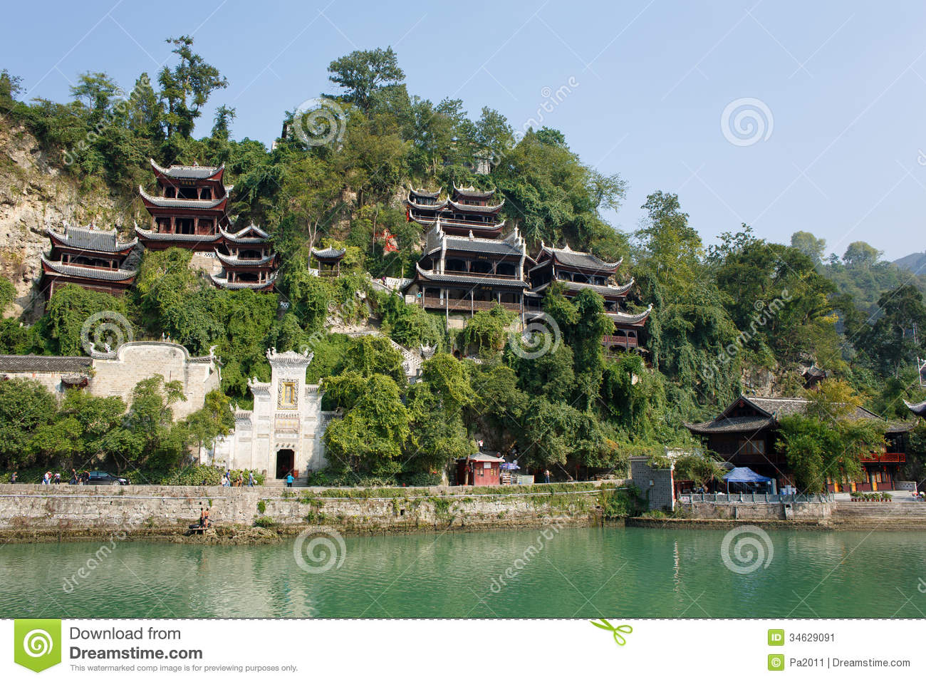 zhenyuan ancient town guizhou china zhengyuan october zhengyuan old country province traditional tower architecture 34629091