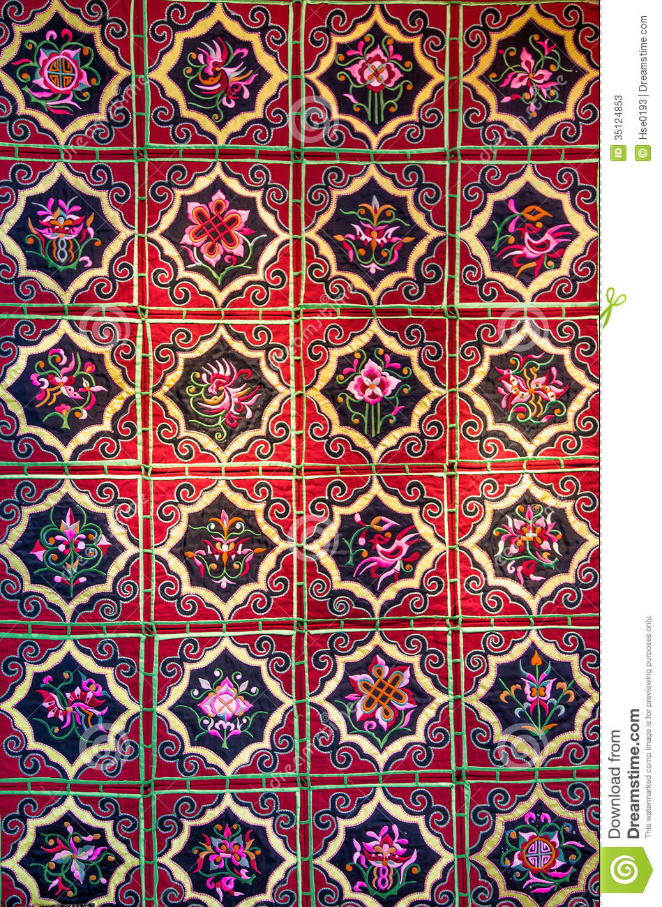 Zhuang Brocade Chinese Fabric With Flower Patterns Stock
