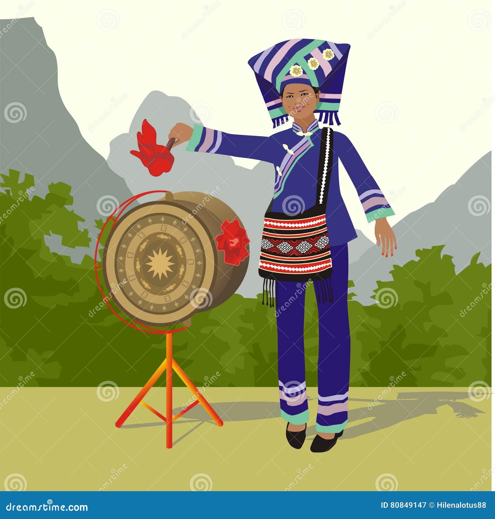 Zhuang-Mädchen und Bronzetrommel