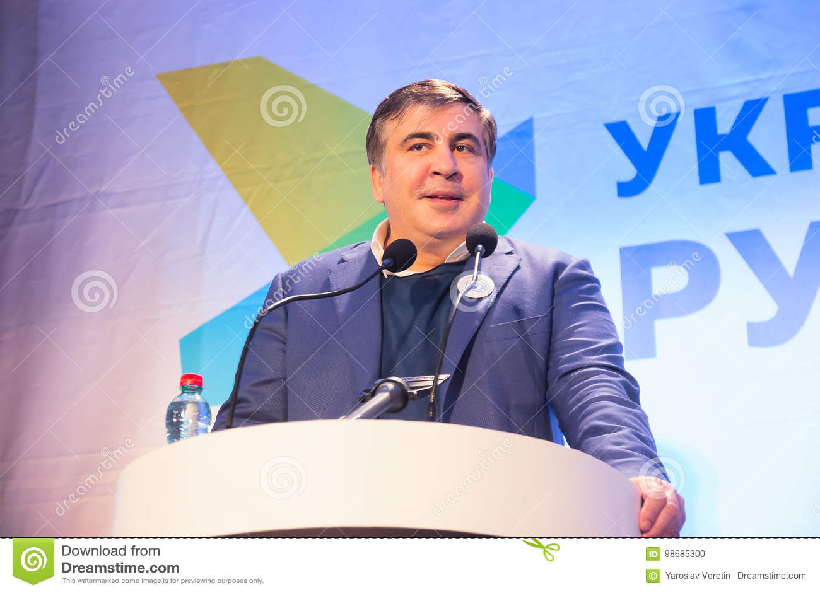 ZHYTOMYR, de OEKRAÏNE - 28 Februari, 2016: Mikheil Saakashvili bij anti-corruptieforum
