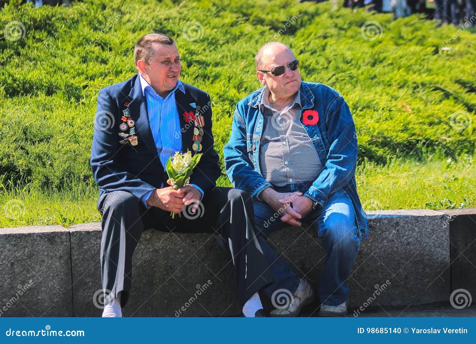 Zhytomyr, de OEKRAÏNE - Mei 9, 2017: Viering van overwinning in Wereldoorlog II bij het monument van overwinning