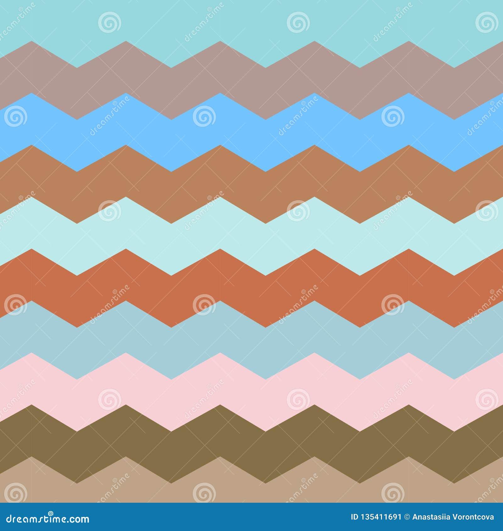 Zickzack und Streifenlinie Retro- Pastellfarben