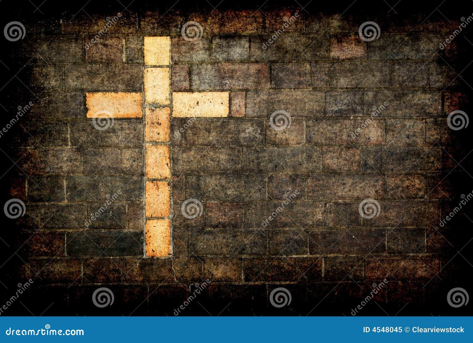 Ziegelstein Kreuz von Christ gemasert