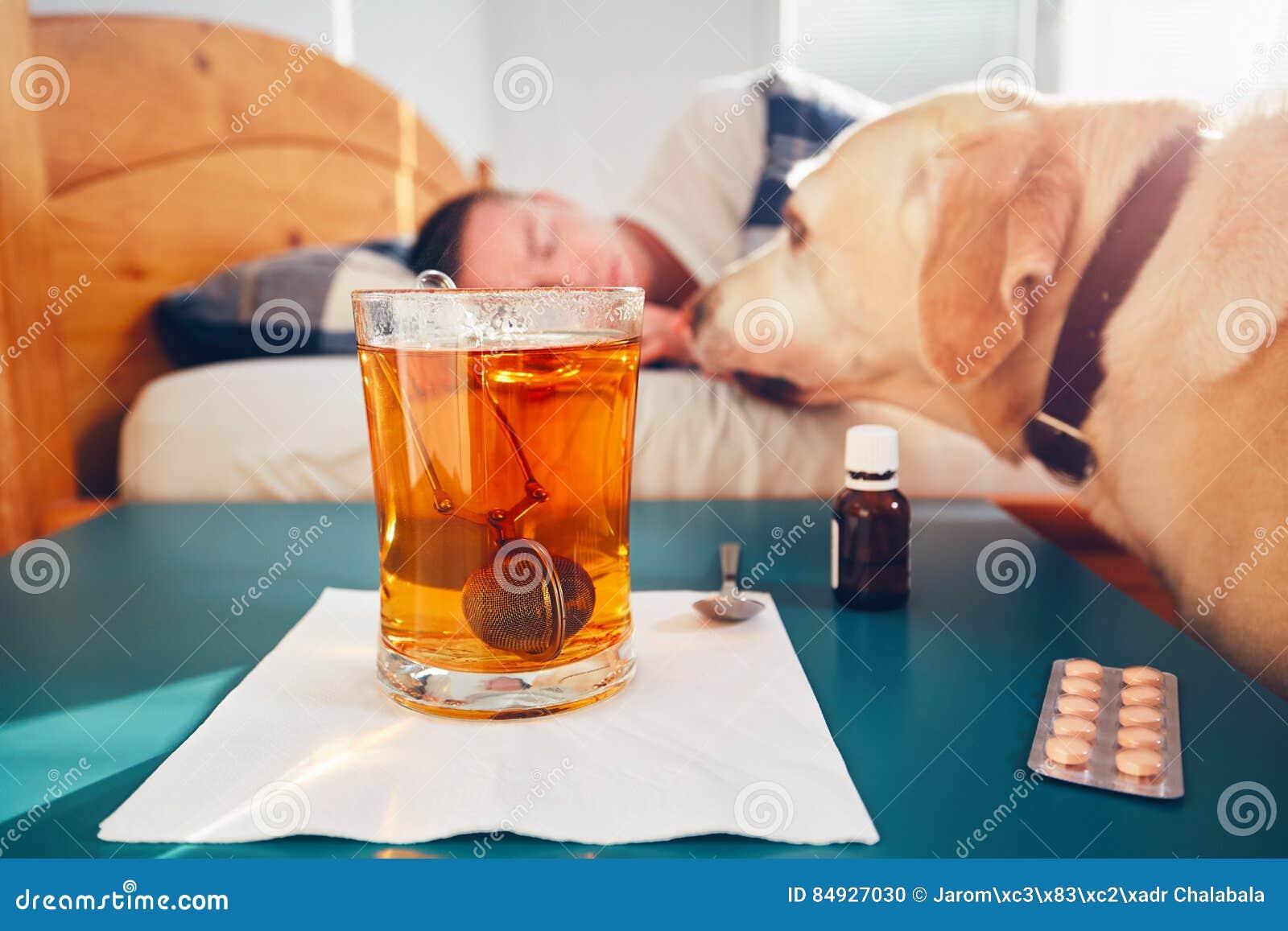Zieke mens in bed