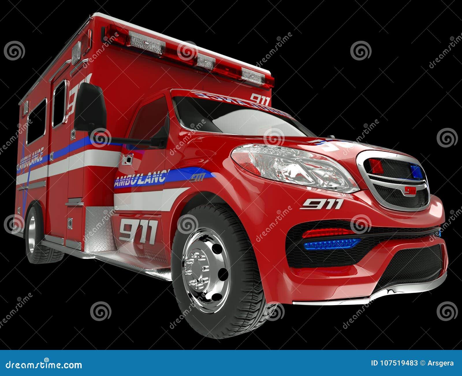 Ziekenwagen: brede hoekmening van hulpdienstenvoertuig op blac