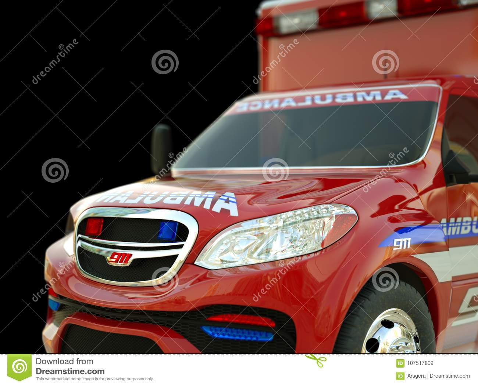 Ziekenwagen: Close-upmening van hulpdienstenvoertuig op zwarte