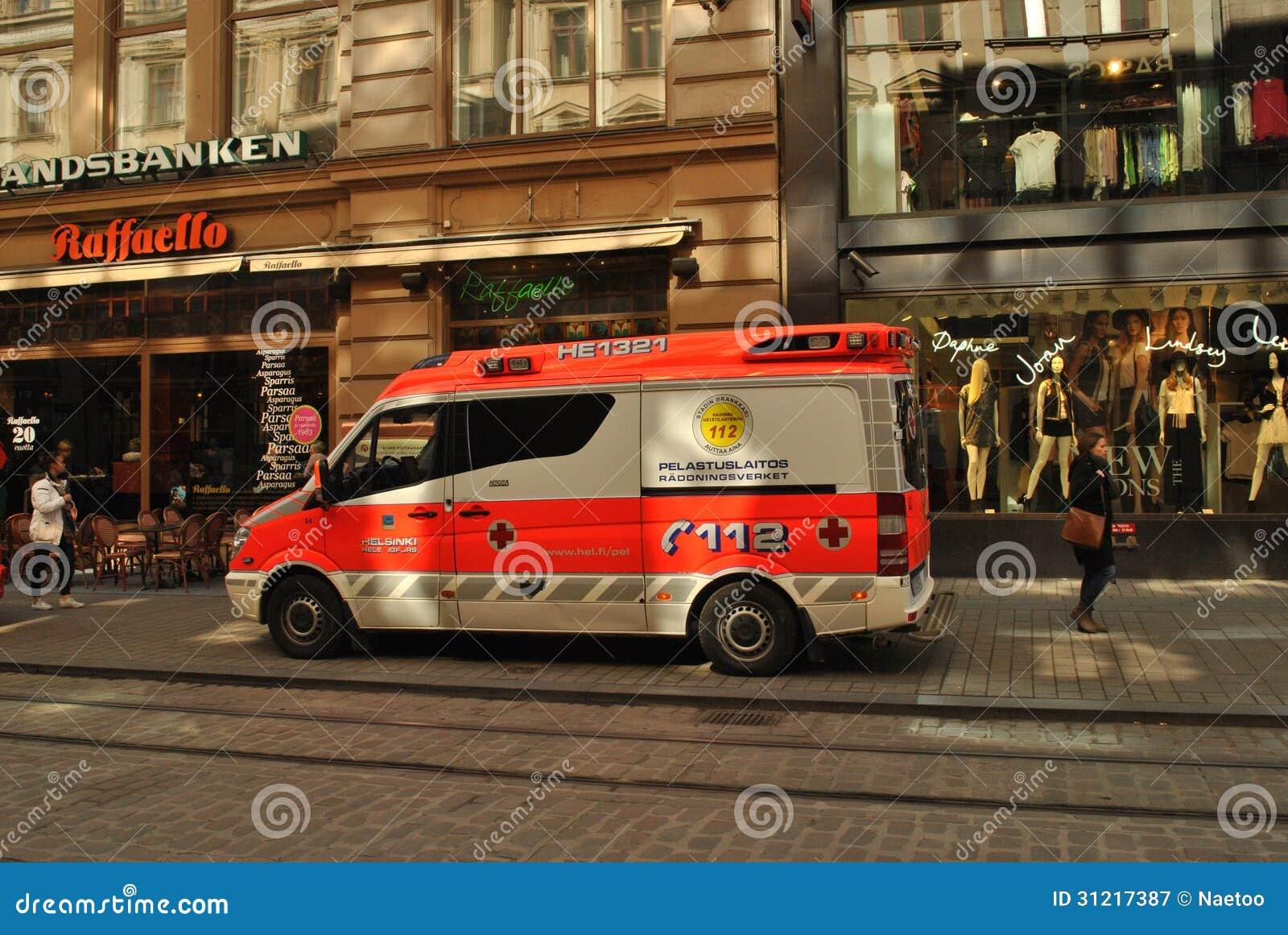 Ziekenwagen in Helsinki