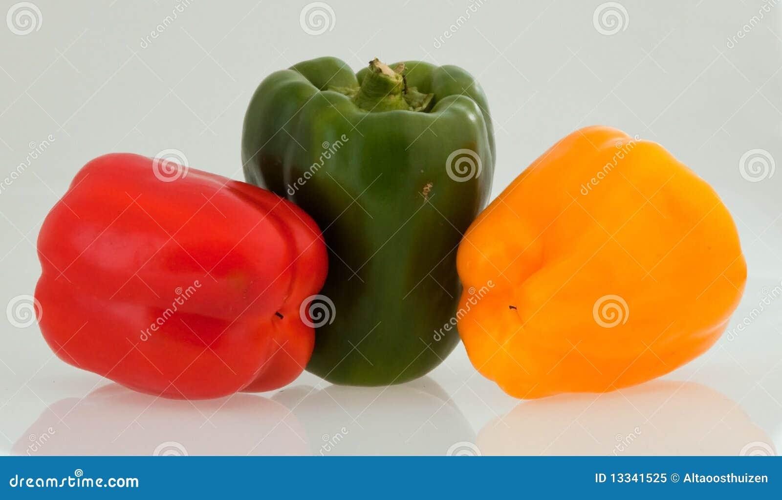 Zieleń pieprzy czerwonego kolor żółty