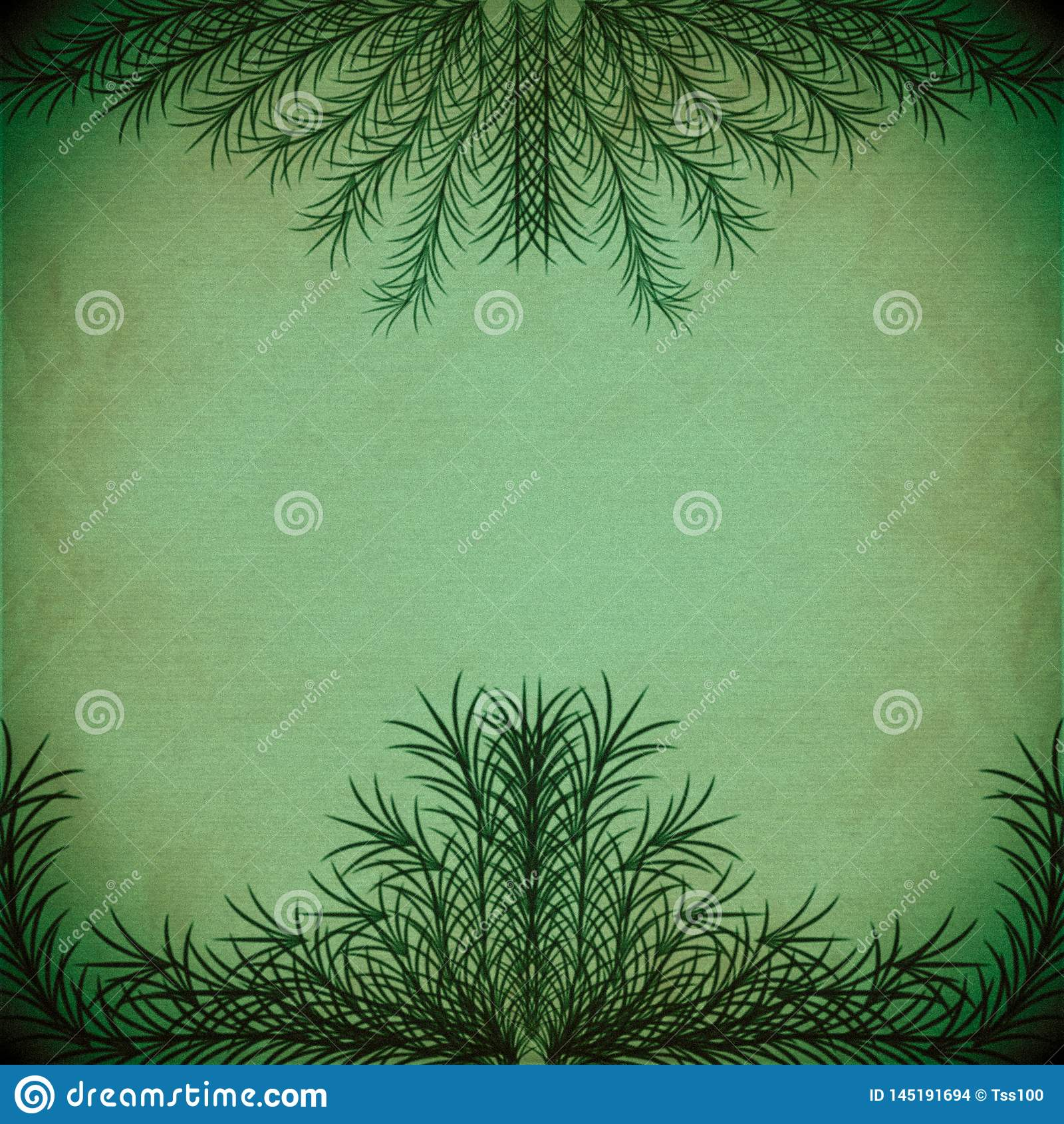 Zieleń rozgałęzia się tworzący ramę na starej papierowej teksturze