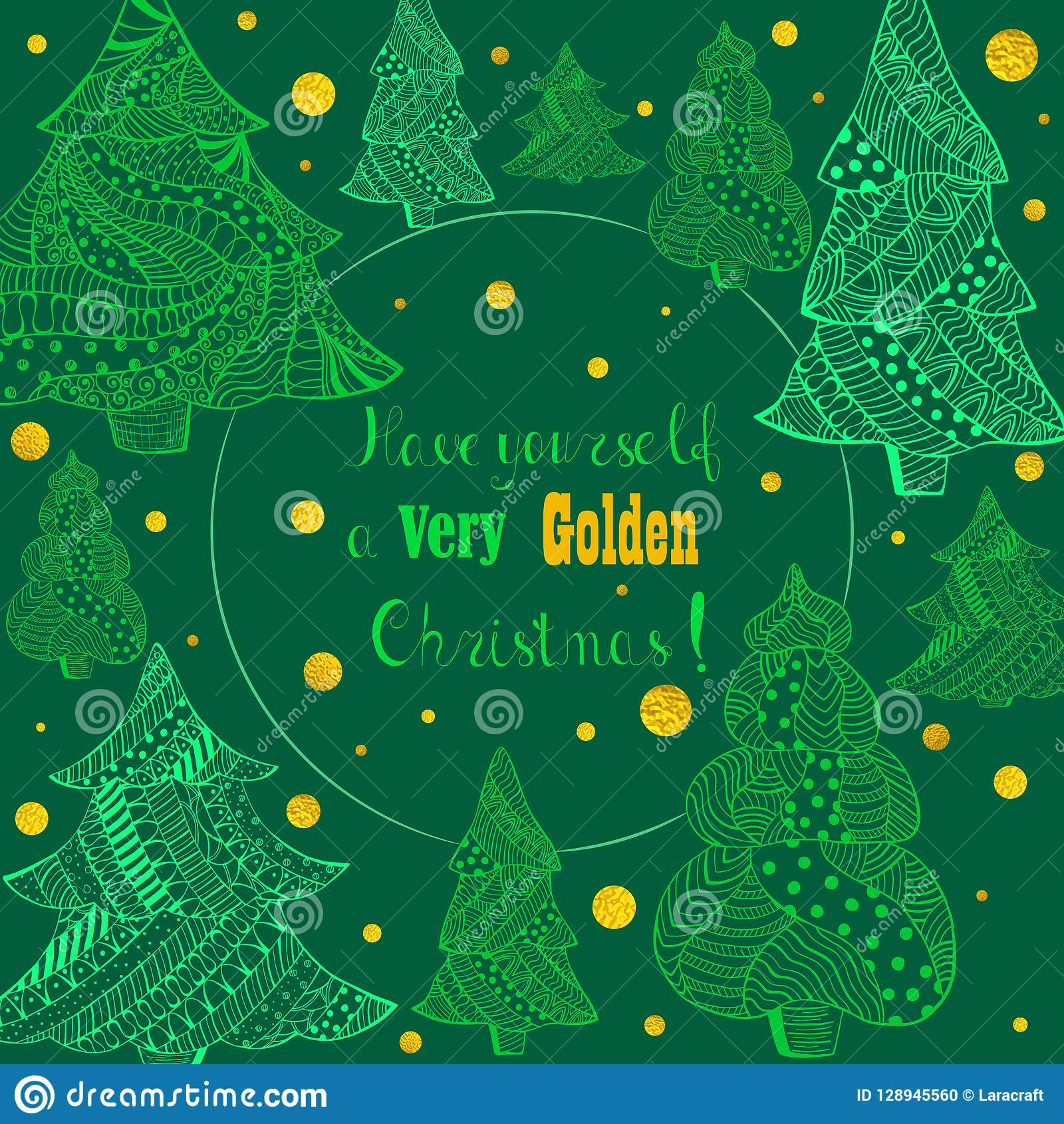 Zieleni Bożenarodzeniowi Jedlinowi drzewa i Złoty opad śniegu