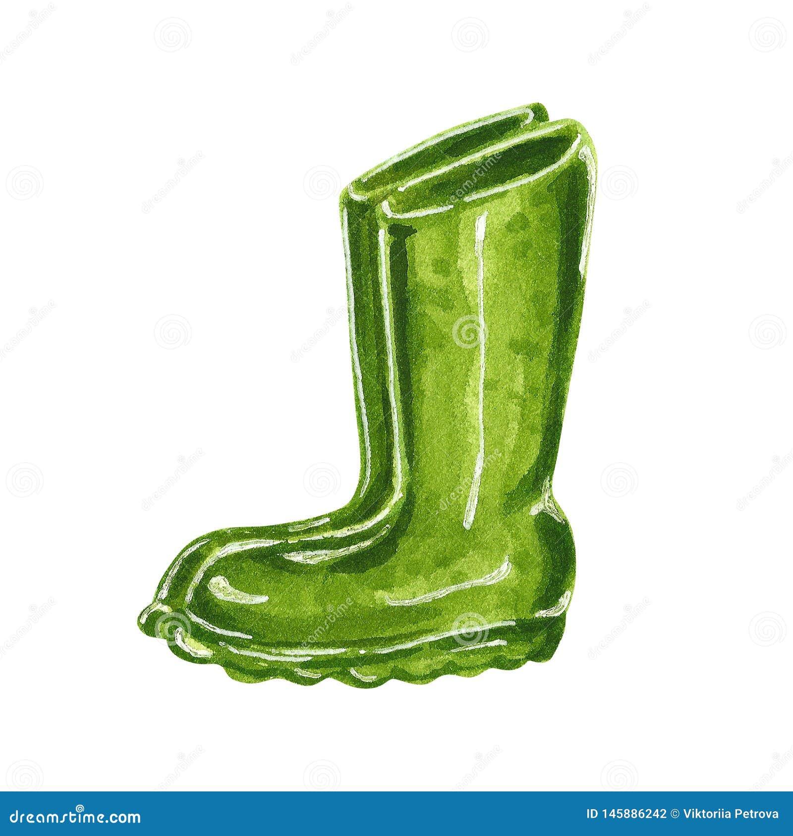 Zieleni ogrodowi gumowi buty, ręka rysująca akwareli ilustracja