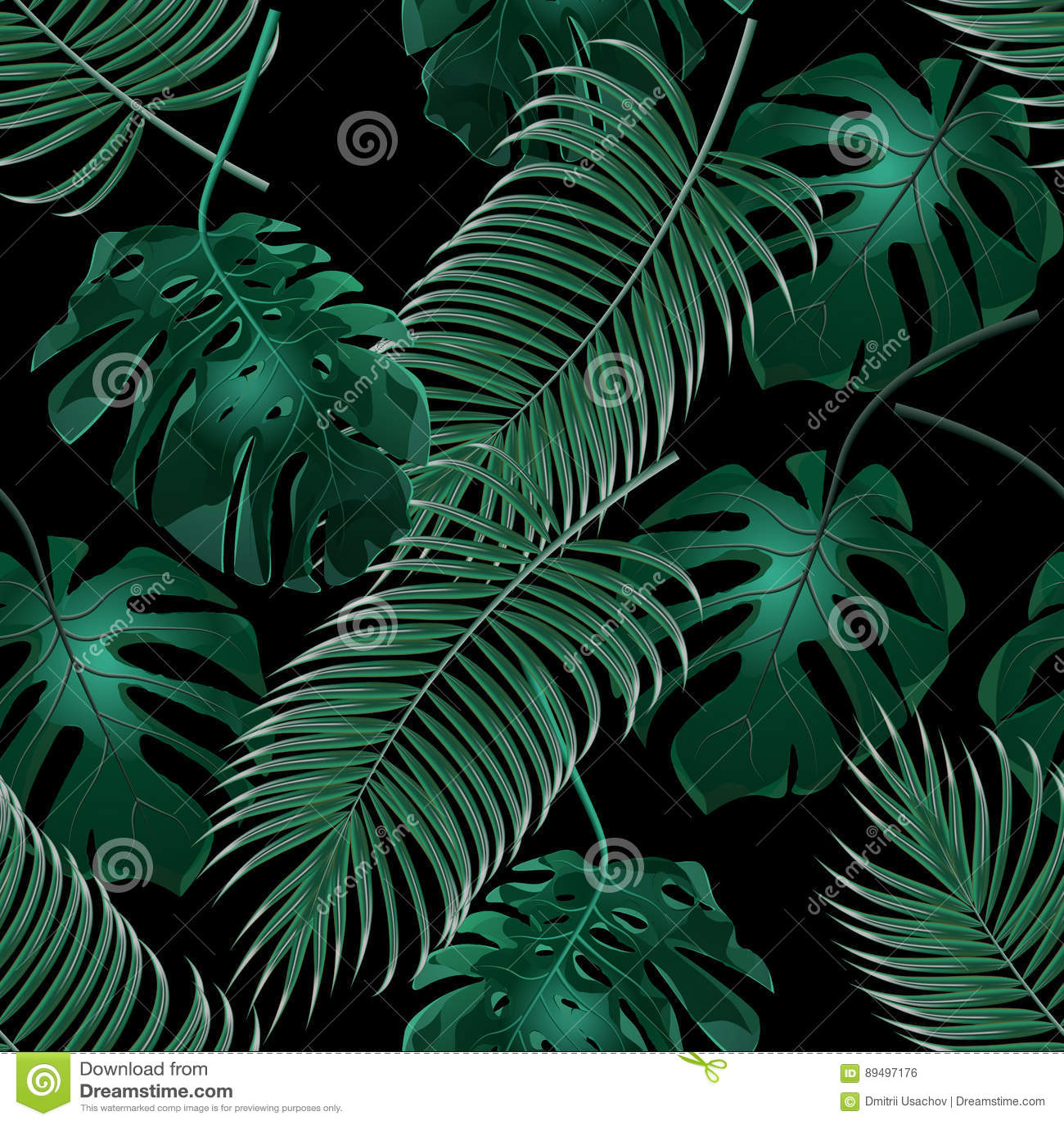 Zieleni tropikalni palma liście, monstera i Dżungla gąszcze bezszwowy kwiecisty wzoru Odizolowywający na czarnym tle