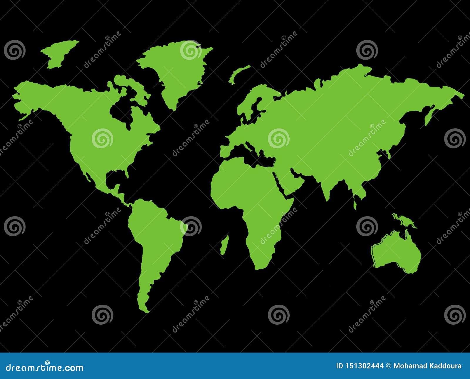 Zielona Światowa mapa reprezentuje środowiskowych globalnych cele - kartografuje obrazek odizolowywającego na czarnym tle