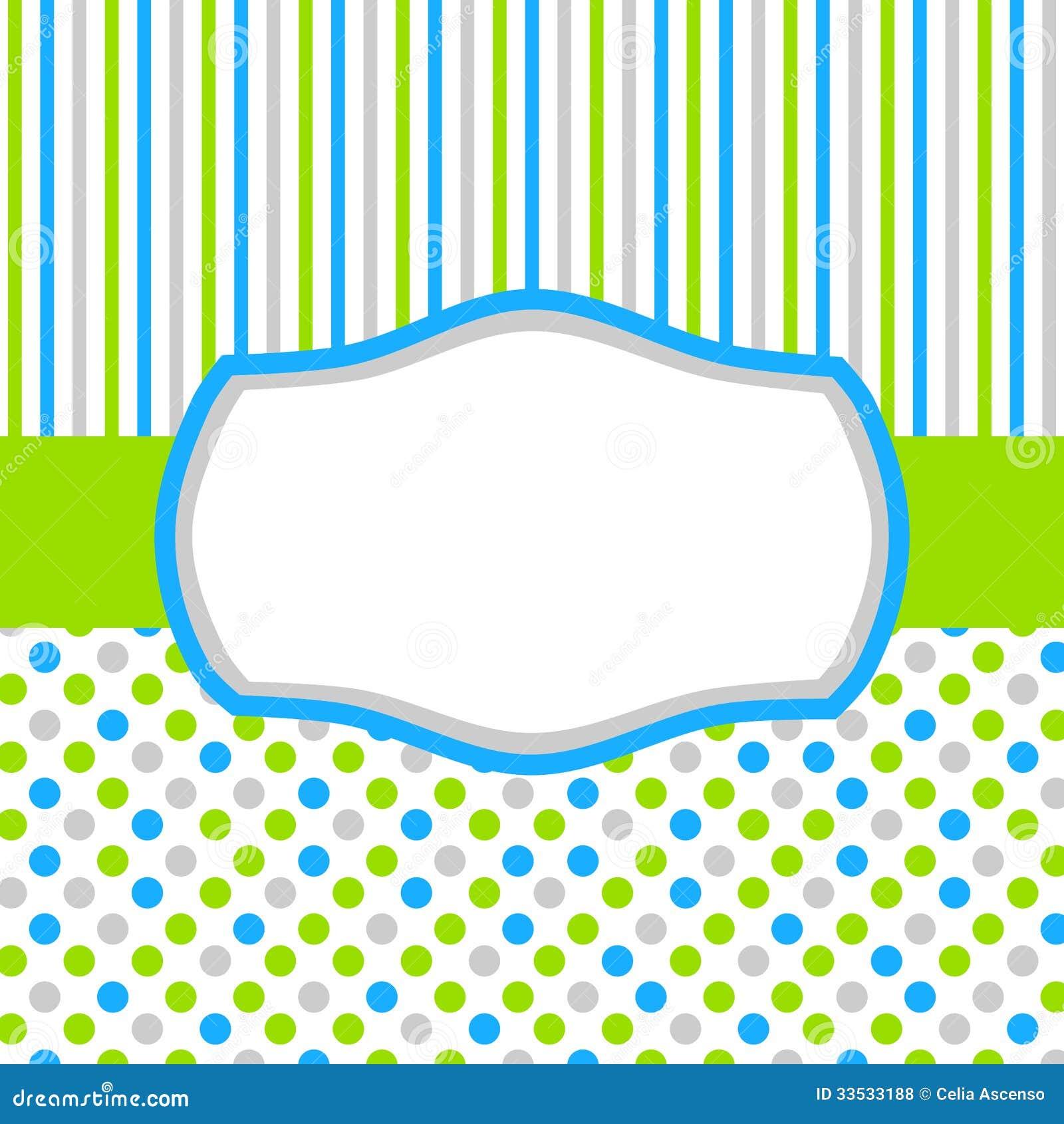 Zielona błękitna zaproszenie karta z polka lampasami i kropkami
