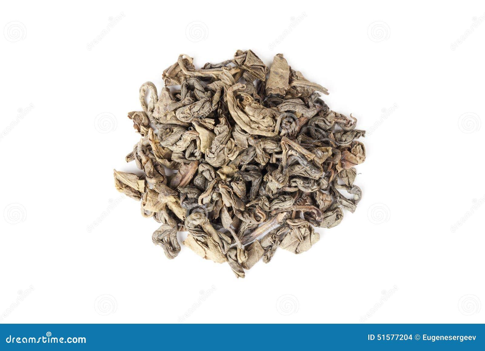 Zielona Chińska herbata odizolowywająca na białym tle, odgórny widok