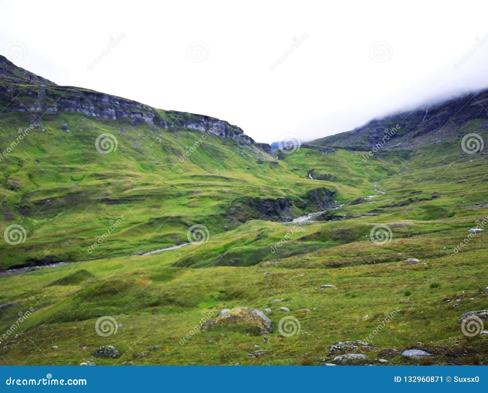 Zielona dolina w górę wysokości