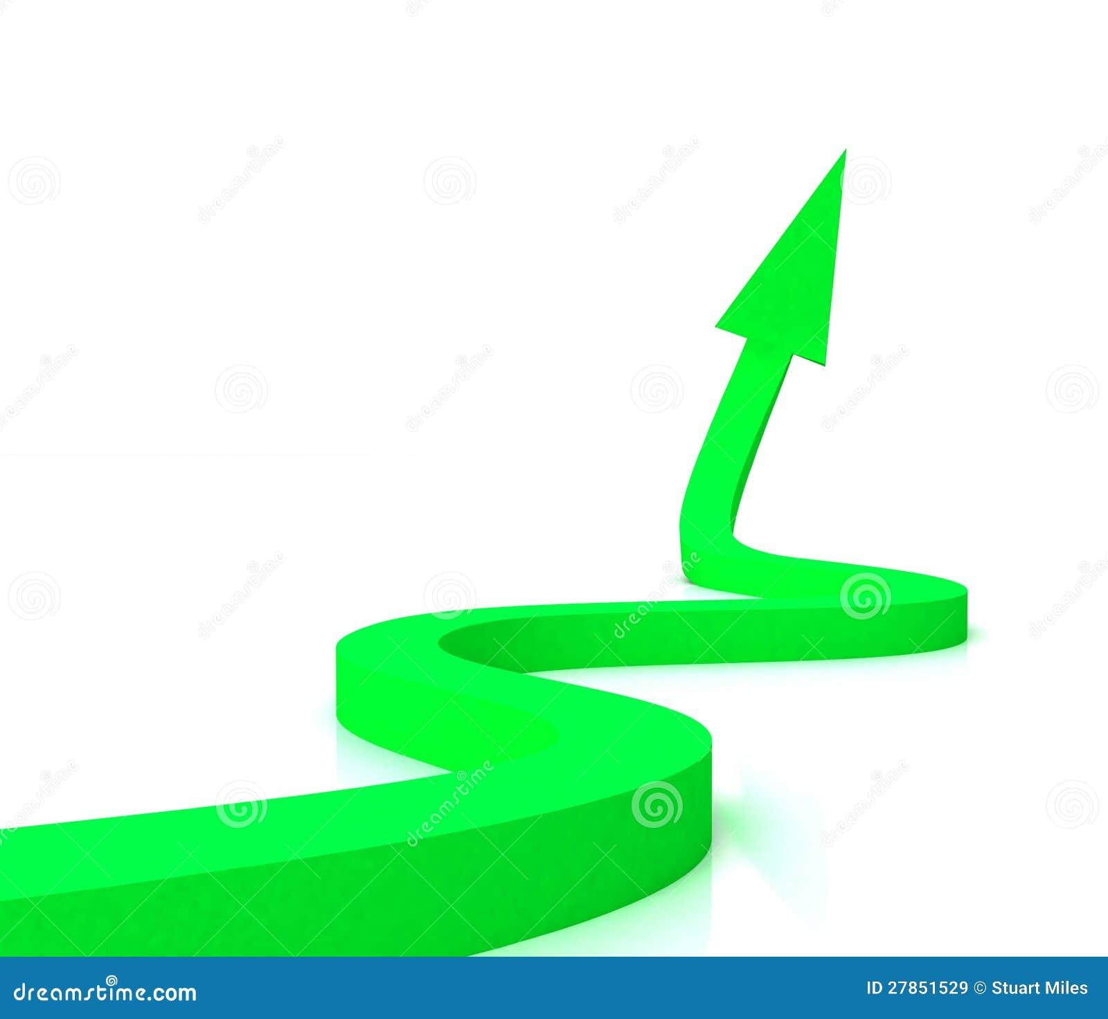 Zielona Falista Strzała Pokazywać Sukces