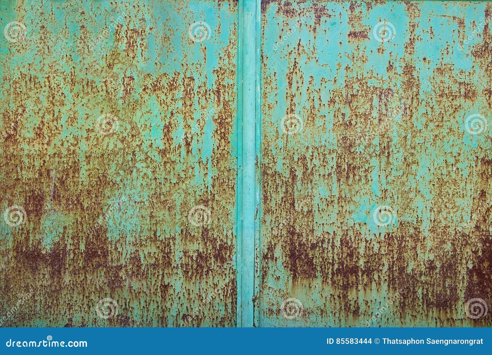 Zielona Farba Struga Daleko Metalu Talerza Tlo Zdjecie Stock