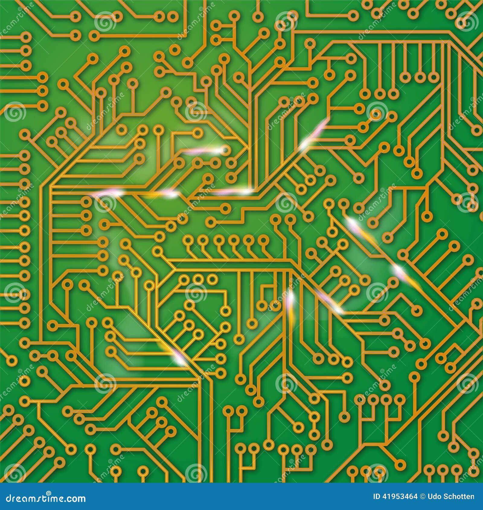 Zielona komputer deska z drutowaniem