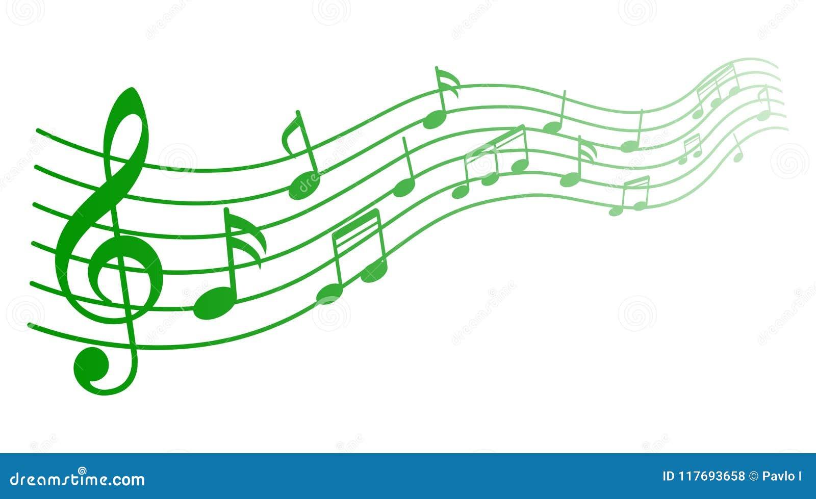 Zielona muzyka zauważa tło, muzykalne notatki - wektor