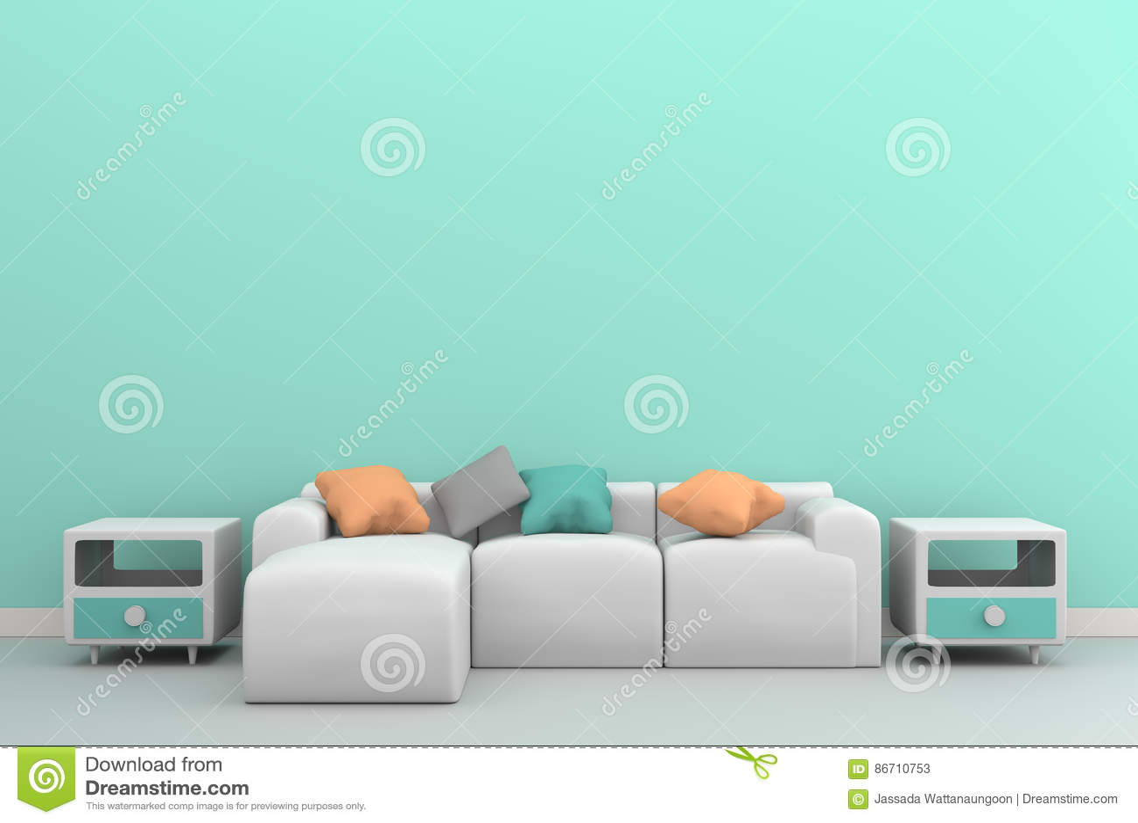 Zielona pastel ściana z kanapą & kredens na białym wnętrzu