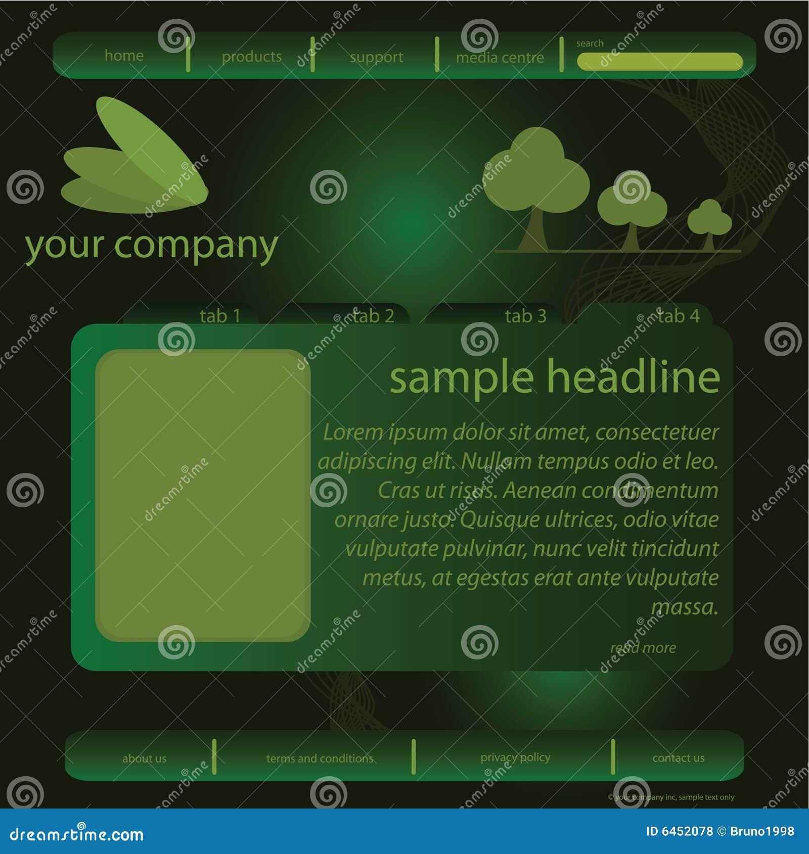 Zielona szablon witryny internetowej
