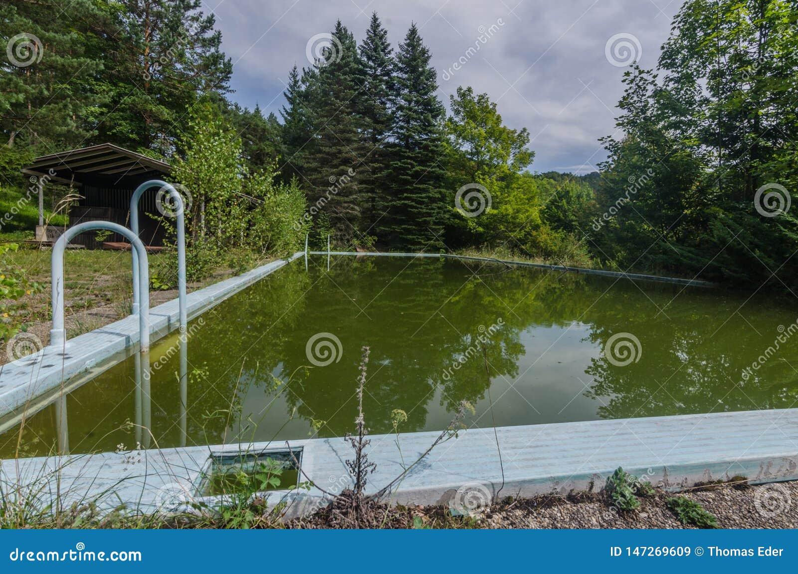 Zielona woda w zaniechanym basenie