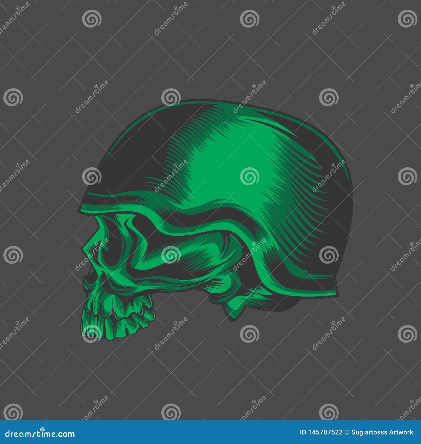Zielona wojsko czaszka