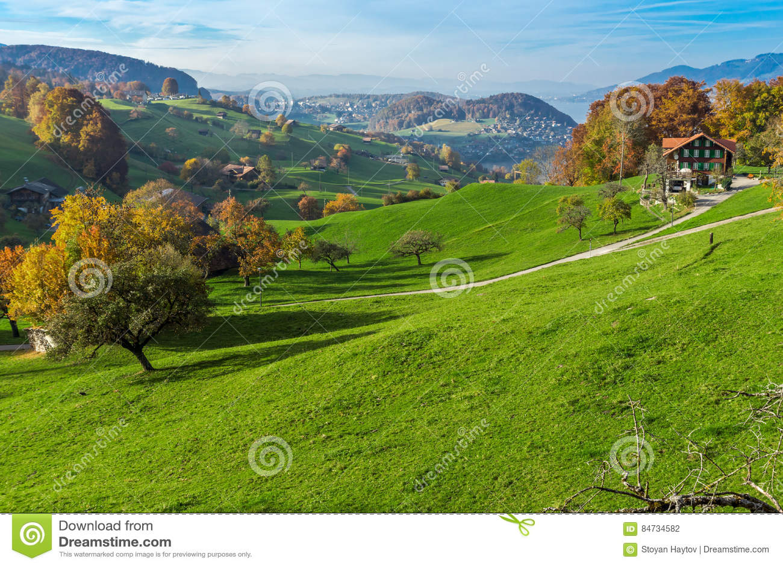 Zielone łąki i typowa Szwajcaria wioska blisko miasteczka Interlaken