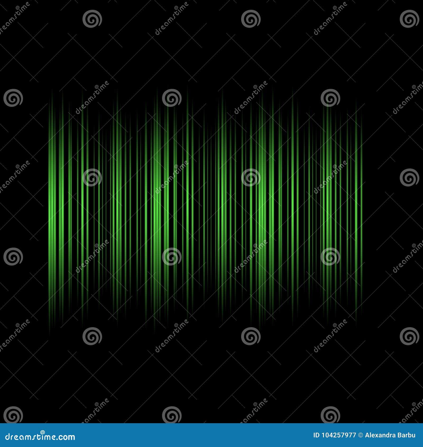 Zielone Liny na Czarnego tło Abstrakcjonistycznego projekta technologii Nowożytnym wektorze