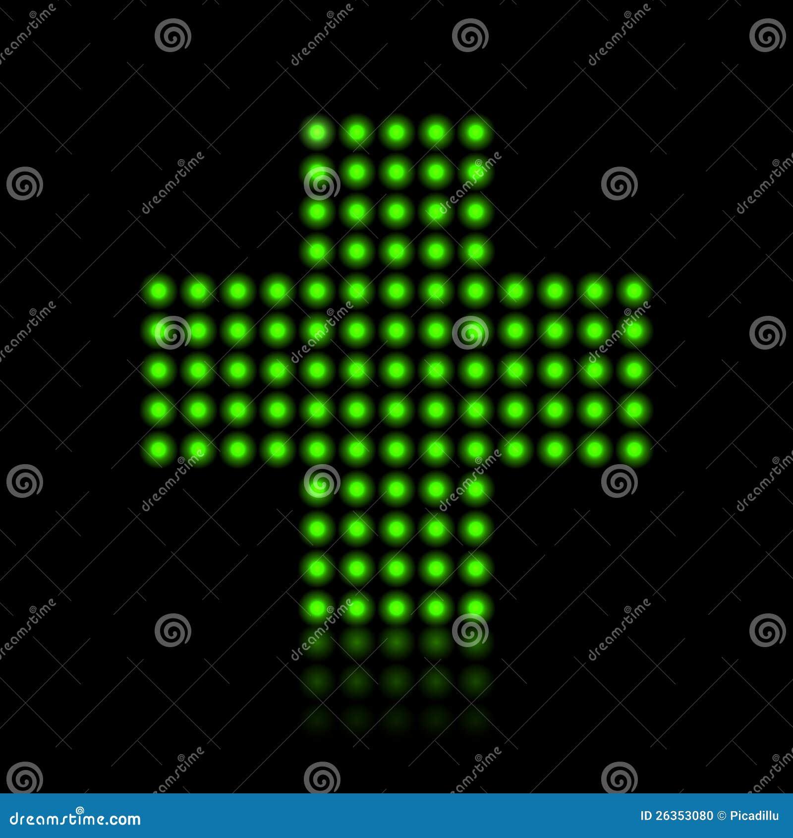 Zielonego światła kropek krzyż