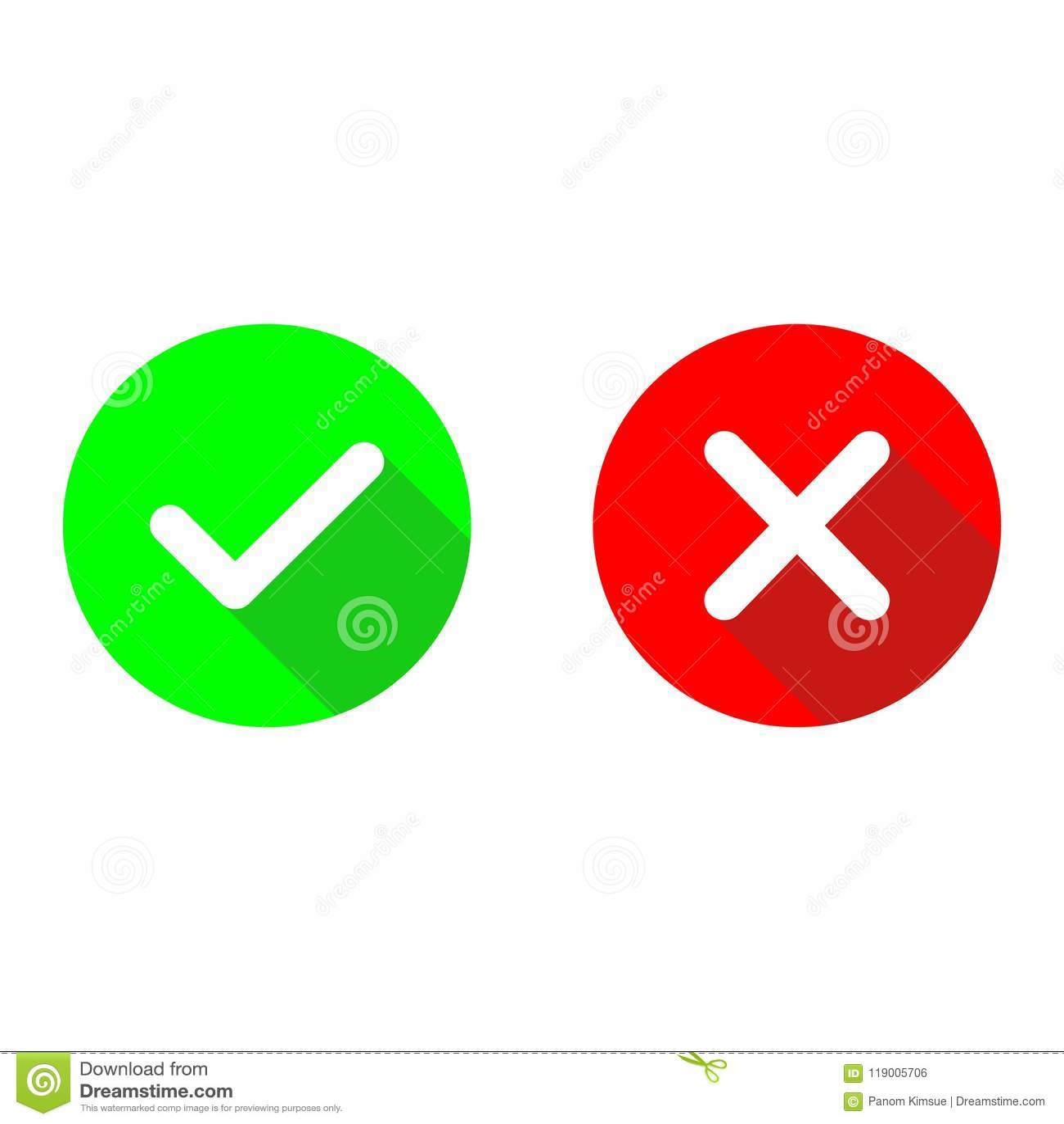 Zielonego checkmark ok i czerwone x płaskie wektorowe ikony Okregów symbole tak, żadny guzik dla głosowania i Cwelicha i krzyża z