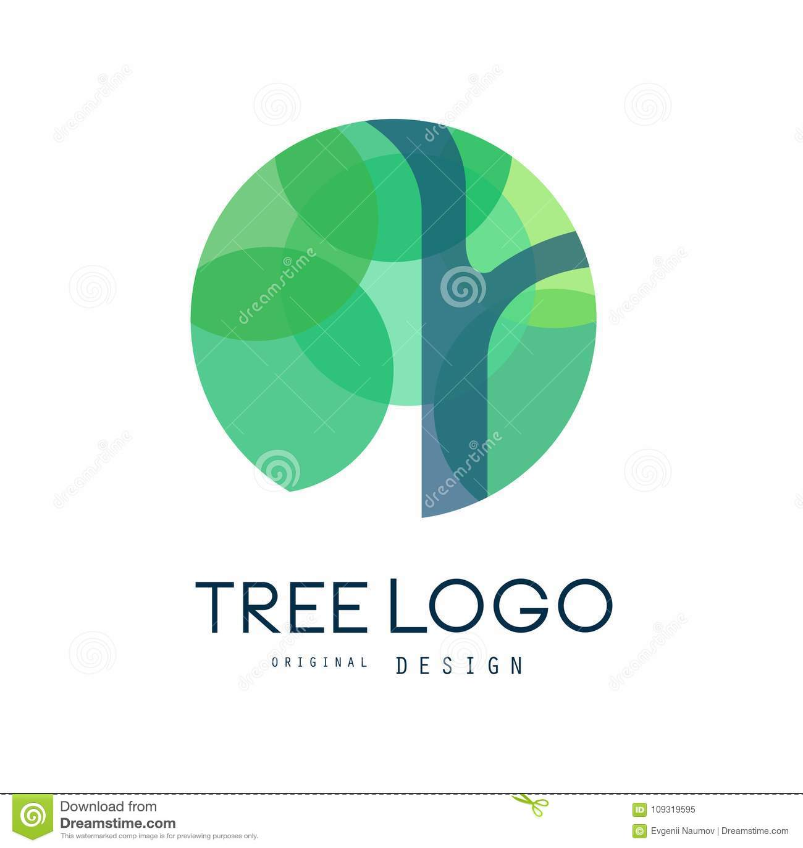 Zielonego drzewnego loga oryginalny projekt, zielona eco okręgu odznaka, abstrakcjonistyczna organicznie elementu wektoru ilustra